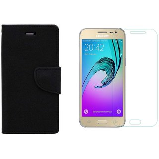 SAMSUNG J2 OLD(2015) FLIP COVER WITH TEMPERED GLASS