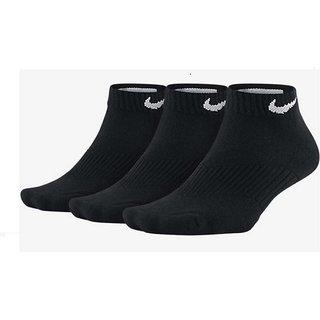 Nike Black Colour Cotton Ankle Length Socks - 3 Pairs