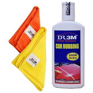 CAR RUBBING 200gm.(60gm EXTRA)+2pc.MICROFIBER CLOTH  (ORANGE+YELLOW).