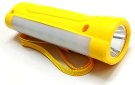 PL-006 1 Watt Front  1.4 Watt Side Light Rechargeable Torch With 1400 MAH Lithium Battery - Yellow