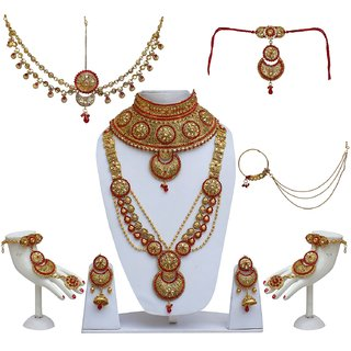7a0dc913796d Buy Lucky Jewellery Bridal Golden Red Color Alloy Gold Plated Wedding  Jewellery Set For Girls Women Online - Get 70% Off
