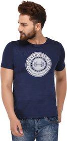 100 Tees Navy Printed Power House Gym Half sleeve Tshirt for Men