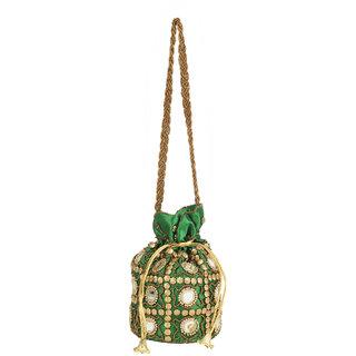 Envie Cloth/Textile/Fabric Embellished Green Coloured Potli Bag