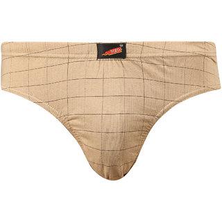 Solo Mens Checks Inner Elastic Cotton Modern Low Waist Stretch Camel Brief