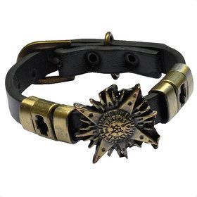 Men Style Unique New Latest Best Design Charm Punk Gothic RockBelt Buckle   Black And Gold  Leather And Alloy  Bracelet For Men