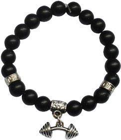 Men Style Agate Stone With Weightlifting Dumbbell Charm Strachable Gift Ideas  Black And Silver  Agate And Alloy  Bracelet For Men