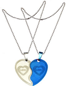 Men Style Couple Broken Heart choker Necklaces Engrave I Love You   Blue And Silver  Stainless Steel Necklace Pendant