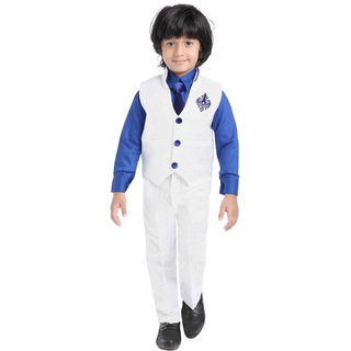 Jeet White WaistCoat Suit for Boys