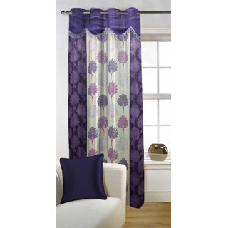 Enaakshi 1 PC Floral Door Curtains with scallops, Purple