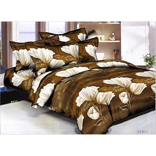 Floral 3D Print Brown Polycotton Double Bedsheet With 2 Pillow cover – (254 x 229 cm) at Shopclues ₹ 299