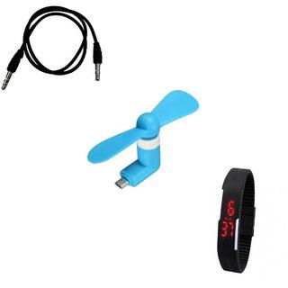 OTG Fan + Aux wire + LED Watch