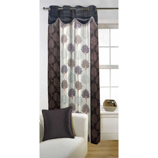 Enaakshi 1PC Floral Door Curtains with scallops, Brown