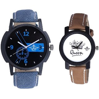 Awesome Blue Dial And Queen Leather Strap Analogue Watch By Gujarat Hub