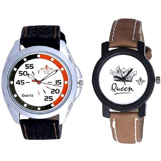 Latest Orange-Black Multi Colour And Queen Leather Strap Analogue Watch By Gujarat Hub