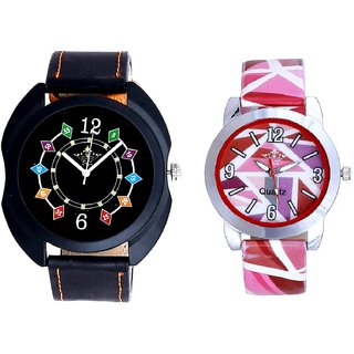Black Dial Chain Digits And Pink Sep Leather Strap  Analogue Watch By Google Hub