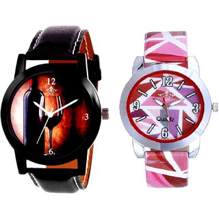 VIP Wine Glass And Pink Sep Leather Strap  Analogue Watch By Google Hub