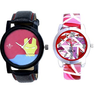 Tony Stark Face And Pink Sep Leather Strap  Analogue Watch By Google Hub