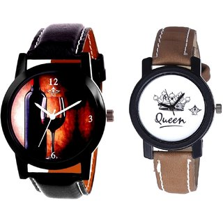 VIP Wine Glass And Queen Leather Strap Analogue Watch By Gujarat Hub