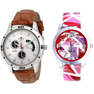 Cronograph Pattern And Pink Sep Leather Strap  Analogue Watch By Google Hub