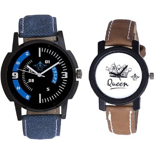 Attractive Almight Blue Line And Queen Leather Strap Analogue Watch By Gujarat Hub