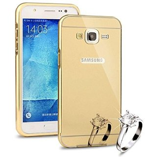 KTC New Golden Mirror Back Cover For Samsung Galaxy J7 (2015) Mobile Phone