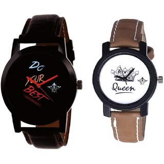 Do Your Best Black Dial And Queen Leather Strap Analogue Watch By Gujarat Hub