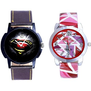 Black Dial Art And Pink Sep Leather Strap  Analogue Watch By Google Hub
