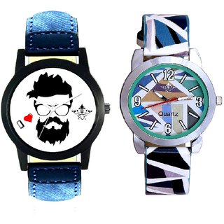 I Love Rock Handsome Round Dial And Sky Blue Sep Leather Strap  Analogue Watch By Google Hub