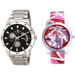Elegant Black Dial Metal Belt And Pink Sep Leather Strap  Analogue Watch By Google Hub
