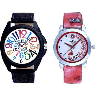 White Dial Multi Colour Digits And Red Leather Strap Analogue Watch By Google Hub