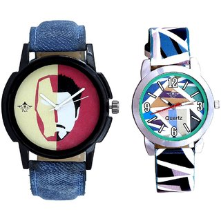 Handsome Tony Stark And Sky Blue Sep Leather Strap  Analogue Watch By Google Hub