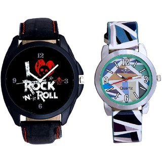 Rock N Roll Dial And Sky Blue Sep Leather Strap  Analogue Watch By Google Hub