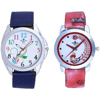 Flowers Multi Colour And Red Leather Strap Analogue Watch By Google Hub