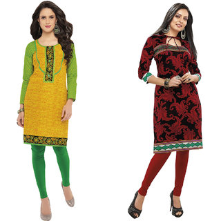 Hrinkar Multicolor Cotton Printed Kurta Dress Material (Unstitched)