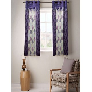 Enaakshi Set of 2 Floral Window Curtains with scallops, Purple