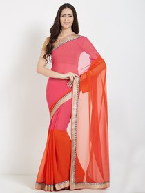 Pink Georgette Embriodered Saree with Blouse