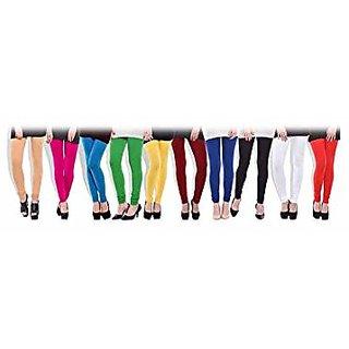 Aashish Fabrics Multicolor Cotton Lycra Plain Leggings For Women (Pack Of 10)