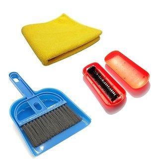 De Ultimate Combo Of Mini Dustpan Broom Set, Microfiber Super Clean Polish Towel Cloth With Magic Roller Hand Dust Brush