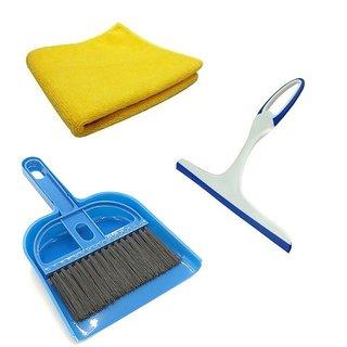 De Ultimate Combo Of Mini Dustpan Broom Set Microfiber Super Clean Polish Towel Cloth With Window NonScratch Glass Wiper