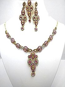 Pink, White  Gold Diamond Jewellery Set with Mangteeka