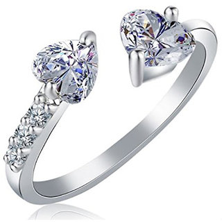Om Jewells Rhodium Heart Band Ring Studded with made for Girls and Women FR1000903