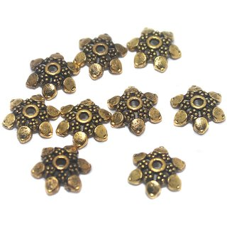 Beadsnfashion Jewellery Making German Silver Golden Bead Caps 10x3 mm, Pack of 50 Pcs
