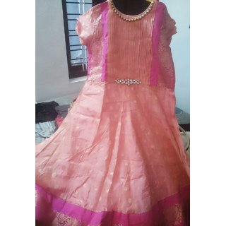 Readymade Peach Colour Anarkali Suit With Border