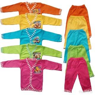 Sonpra Baby Soft Cotton Full Sleeves Jhablas Pyjamas Combo Set   (Multicolor)