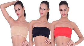 Combo Pack Of 3 Seamless Strapless Bandeau Top Tube Bra