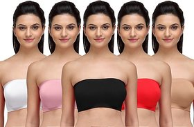 Combo Pack Of 3 Seamless Strapless Bandeau Top Tube Bra. No Straps No Clips
