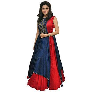 New Designer Red and Blue Color Benglori silk Embroidered semi stitched Anarkali Koti Dress (PNMRED)