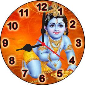 3d little krishna ladoo wall clock