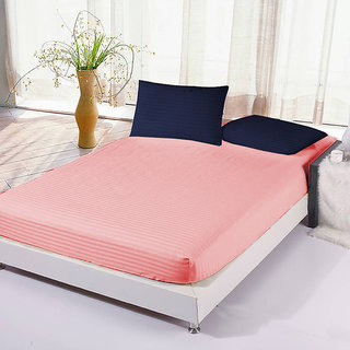 The Intellect Bazaar Satin Cotton King Fitted Elastic Bedsheet With 2 Contrast Pillow Covers Peach