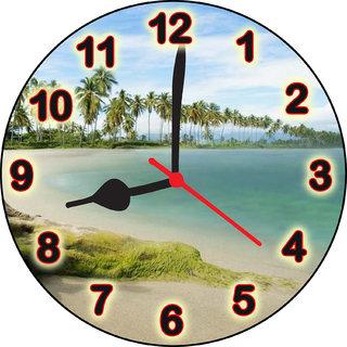 3d sea and tree wall clock